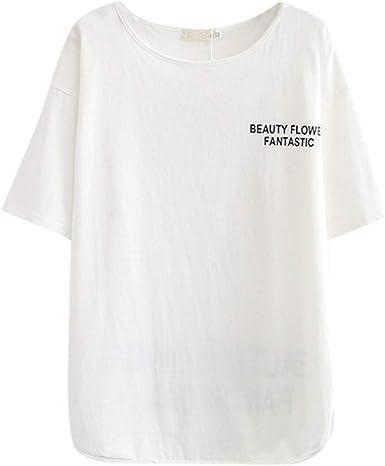Luckycat Camiseta de Manga Larga y Cuello de Pico Mujer Blusa Camisa Cuello Redondo Basica Camiseta Suelto Verano Tops Casual Fiesta T-Shirt Original tee Camiseta de Mujer Manga Corta: Amazon.es: Ropa y