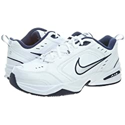 Nike Mens Air Monarch IV Cross Training Shoes - Size: 8 Wide, White/silver/navy