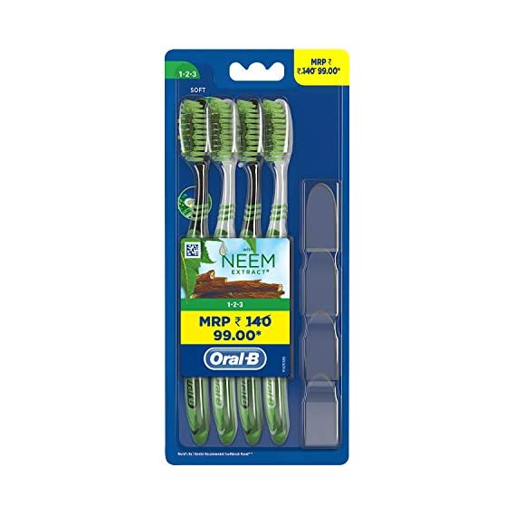Oral- B 1.2.3 Toothbrush with Neem Extract, Soft (Buy 2 Get 1 Free)