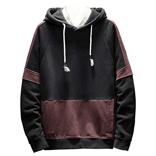kaifongfu Men Sweater Tops with Simple Contrast Color Mosaic Hooded Shirt (Pink Baseball Seam Bracelet)