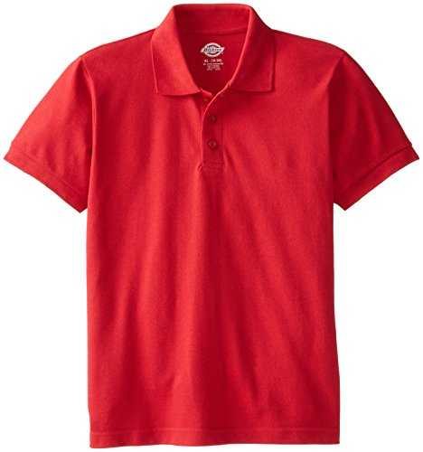 (Dickies Big Boys' Short Sleeve Pique Polo Shirt, English Red, X-Large)