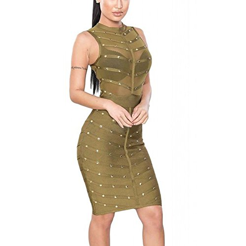 HLBandage Mesh Studded Sleeveless Knee Length Rayon Bandage Dress(M,Army Green)