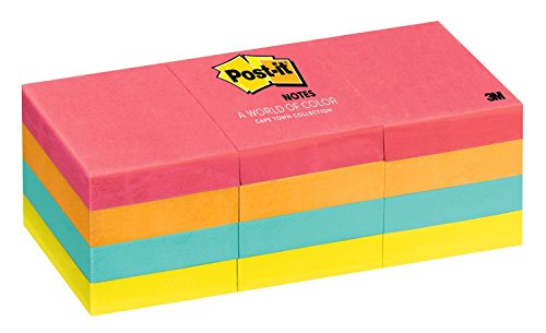 Post-it Notes 653AN Original Pads in Cape Town Colors, 1 1/2 x 2, 100-Sheet (Pack of 12)