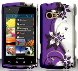 Kyocera Rise C5155 (Virgin/Sprint) Purple/Silver Vines Design Hard Case Snap On Protector Cover + Free Opening Tool + Free Animal Rubber Band Bracelet