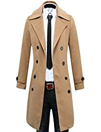 Men's Trench Coat Winter Long Jacket Double Breasted Overcoat
