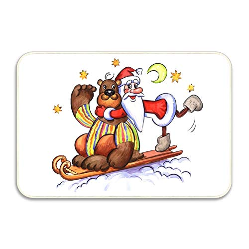 (FnLiu Bear Santa Claus Greeting Card Stars Moon Door Mat Carpets Indoor Outdoor Area Rugs Office Door Mat Non-Slip)