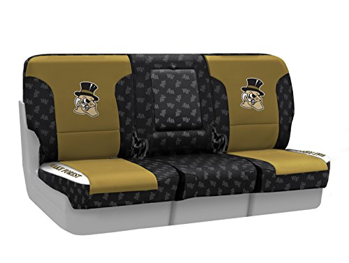 Coverking Custom Fit Front 40/20/40 NCAA Licensed Seat Cover for Select Nissan Titan Models - Neosupreme (Wake Forest University) by Coverking