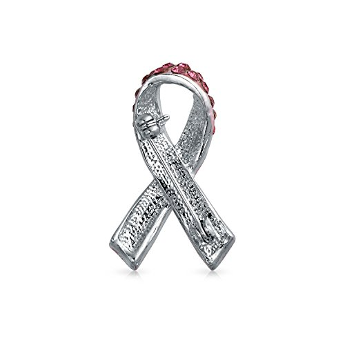 Bling Jewelry Silver ton ruban rose strass émail Cancer Du Sein Broche Broche