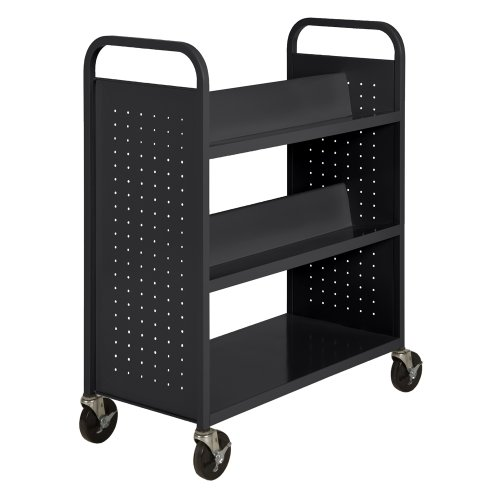 Sandusky SVF336-09 Black Heavy Duty Welded Steel Combination Shelf Book Truck with 4 Sloped Top Shelves and 1 Flat Bottom Shelf, 46