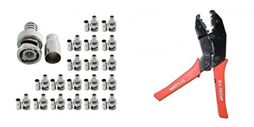 Evertech Professional Coaxial Crimping Tool + 20 Pcs BNC Male Crimp On Connector for Siamese RG59