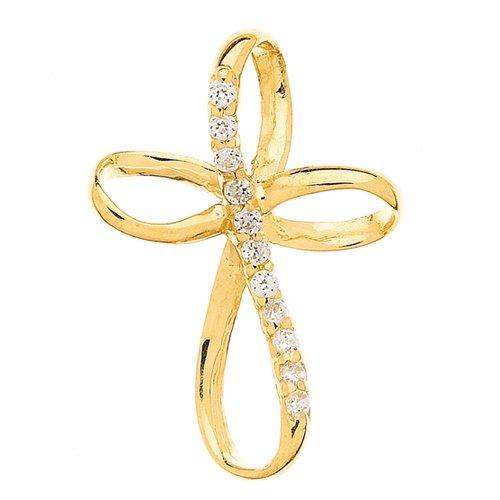 So Chic Bijoux © Pendentif Croix Volute Oxyde de Zirconium Or Jaune 375/000 (9 carats)