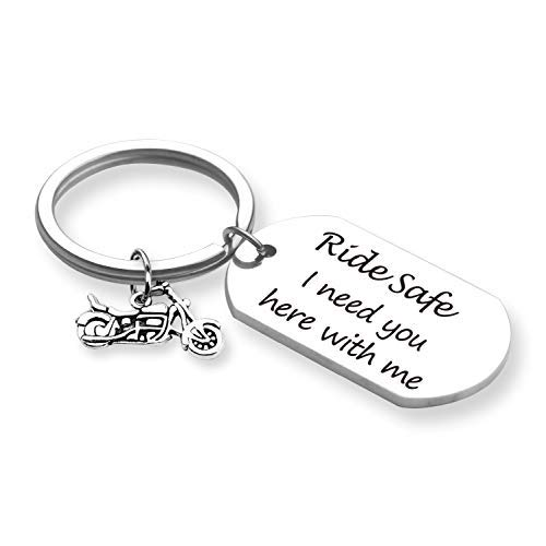 (TOGON Biker Keychain Motorcycle Keychain Ride Safe I Need You Here with Me Keychain New Driver Gift Couple Lovers Keychain Valentines Day Birthday Gift (Ride Safe KR))