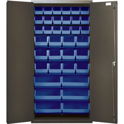 - Quantum Storage Cabinet With 36 Bins - 36in. x 18in. x 72in. Size, Blue, Model# QSC-36-FD