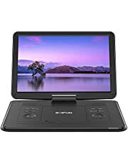 "17.5"" Portable DVD Player with 15.6"" Large HD Screen, 6 Hours Rechargeable Battery, Support USB/SD Card/Sync TV and Multiple Disc Formats, High Volume Speaker, Black"