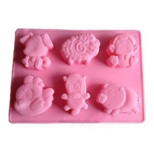 Allforhome(TM) 6 Cavities Animals Silicone Cake Baking Mold Cake Pan Muffin Cups Handmade Soap Molds Biscuit Chocolate Ice Cube Tray DIY Mold