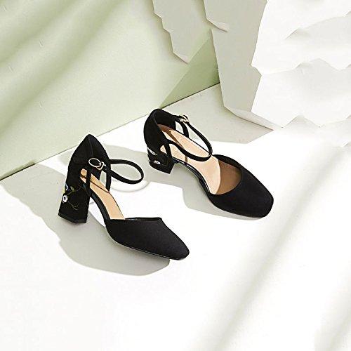 Talons Daim Black Femmes Chaussures Hauts Mode Broderie pour Personnalité z1XZq