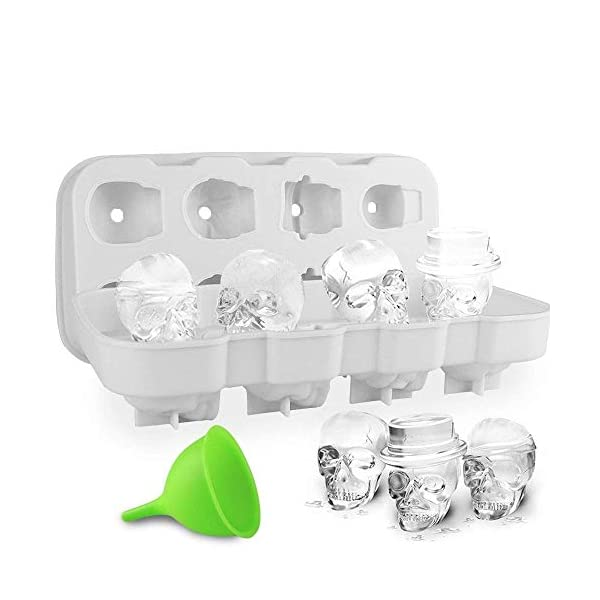 HoneyHolly 3D Del Cranio Cubetto Di Ghiaccio Muffa Con Coperchio, Flessibile Silicone Di Tipo Alimentare Cubetto Di… 1 spesavip