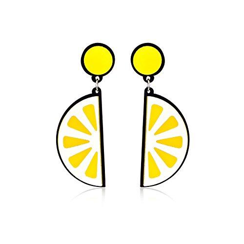 (Freedi 1Pair Fashion Stud Earrings Acrylic Lemon Ear Studs for Women Girls Jewelry Gift)