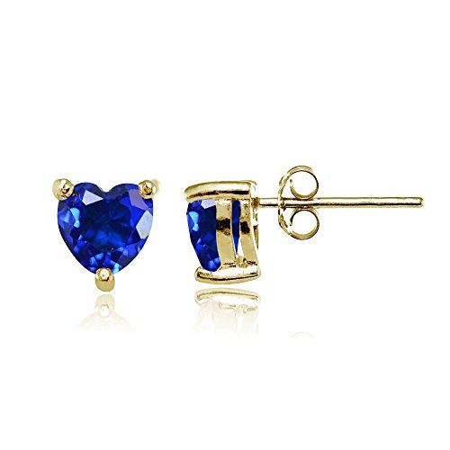 Yellow Gold Flashed Sterling Silver Simulated Blue Sapphire 6mm Heart Stud Earrings