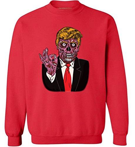 Awkward Styles Unisex Zombie Trump Sweatshirts Crewneck Trump Halloween Costume Trumpkin Red (Joe Biden Halloween Costume)