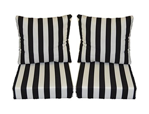 Black and White Stripe Cushions for Patio Outdoor Deep Seating Furniture Loveseat - Choice of Size (SEAT CUSHION - 25