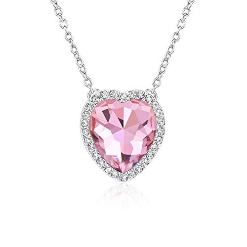 Beyond Love Pink Tourmaline October Birthstone Necklace Heart Jewelry Gifts for Women and - Heart Necklace Pink