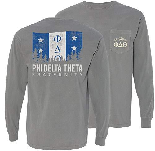 (Phi Delta Theta Fraternity Greek Gray Comfort Colors Flag Long Sleeve Pocket Tee Phi Delt)