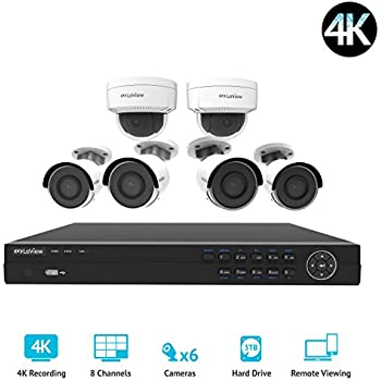 LaView LV-KNG968E86G8D8-T3 HD 8 Channel 4K Business & Home NVR Security System W/ 4 Indoor/Outdoor Bullet & 2 Indoor/Outdoor Dome IP POE Surveillance ...
