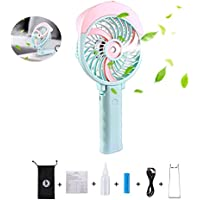 Handheld Misting Fan, Foldable USB & Battery Operated Portable Personal Cooling Fan, 3 Speed for Outdoor Travel Desktop (Pink)