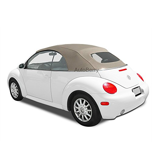 Volkswagen Beetle TAN Haartz Stayfast Cloth Convertible Top & Heated Glass Window for VW For Power Tops 2003-2009