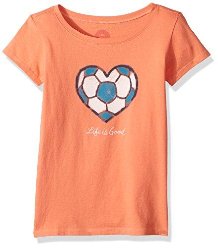 Life is good Girls Tee Soccer Heart, Fresh Coral, Medium Soccer Crusher