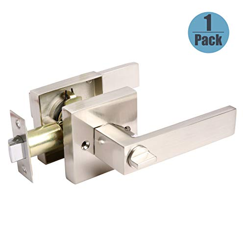 Bed/Bath Rooms Door Lever Satin Nickel Finish Square Privacy Door Lock Sets Mondern Style with Square Rosette, Heavy Duty Keyless Interior Door Handles, Universal Handing, 1 Pack