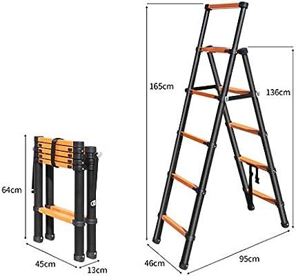 Escaleras Escalera telescópica de aluminio de 6 pasos, Taburete con peldaños, Escalera plegable, Escalera con extensión, Escalera de mano tipo loft de uso múltiple en el jardín de la oficina doméstica: Amazon.es: