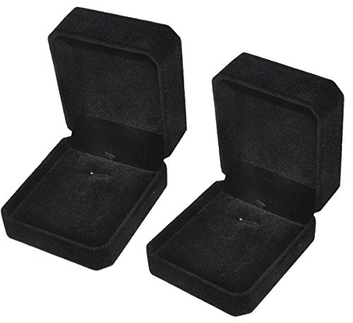 iSuperb 2 Velvet Necklace Pendant Box Jewelry Box Classic Black Gift Boxes 3.1x1.6x2.8inch