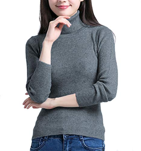 (Fengtre Women's Turtleneck Cashmere Elastic Long Sleeve Slim-fit Pullover Knit Sweater)