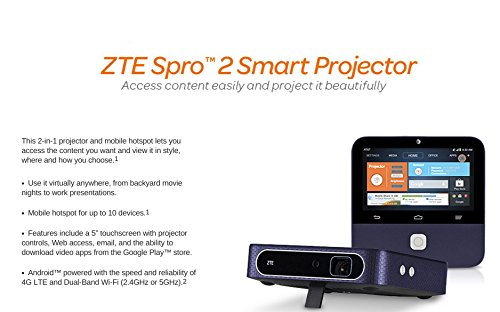 ZTE Spro 2 4G LTE (AT&T version) Smart Android Projector with Hotspot, WiFi, 1280x720 HD Resolution and 5 inch Touchscreen by ZTE