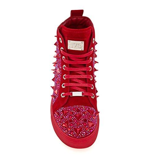 J75 Jump Men's Zambia Round Toe Metal Spike Jewel Lace-UpHigh-Top Sneaker Red TExRpkFR
