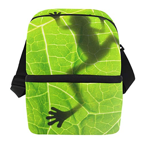 JOYPRINT Lunch Box Bag, Animal Frog Shadow Leaf Leaves Insulated Thermal Cooler Ice Lunchbox with Zipper Waterproof for Women Men Boys Girls -