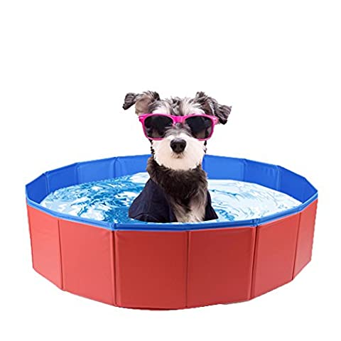 Foldable Pet Dog Swimming Pool Portable Bathing Tub Bathtub Outdoor for Dogs Cats - 23.6'' x 7.8'' (Tub For Small Pets)