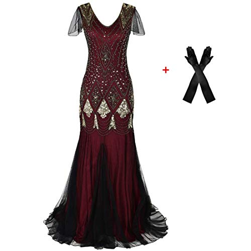 Women Evening Dress 1920s Flapper Cocktail Mermaid Plus Size Formal Gown with Gloves (S/US 6-8, Burgundy Gold) ()