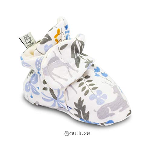 (Owluxe Organic Cotton Baby Girl Booties Crib Shoes with Kick Proof, Newborn, 3-6 Months, Woodland Deer Flower, Blue)