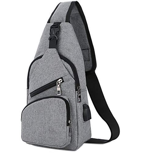 Sling Shoulder Crossbody Chest Bag for Men Women Lightweight Hiking Travel Backpack Daypack with USB Charging Port(Grey)]()