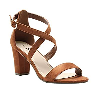 Trary Women's Ankle Strap and Adjustable Buckle Chunky Pump Heel Sandals Brown Size: 6