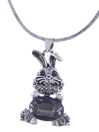 (Alilang Easter Bunny Belly Grey Tone Crystal Rhinestone Rabbit Pendant Necklace)