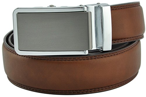 Hampton Men's Leather Belt with Innovative Contempo Ratchet Belt Buckle (32-35 Medium, (Medium Mens Leather)