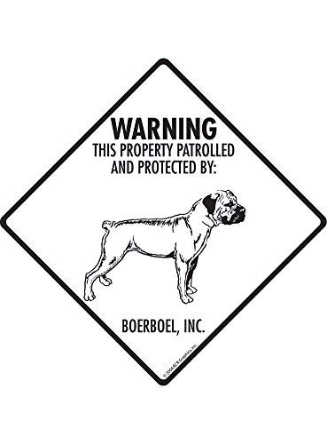 Property Patrolled and Protected Aluminum Dog Sign HSSS Warning Boerboel