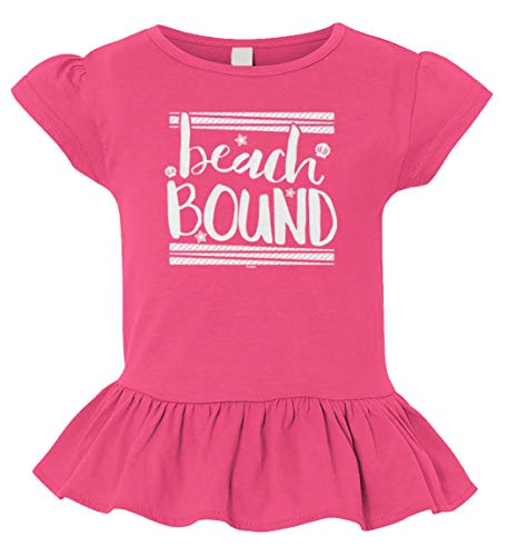 Tcombo Beach Bound - Summer Cool Toddler/Youth Ruffle Jersey Tee (Pink, 2T -