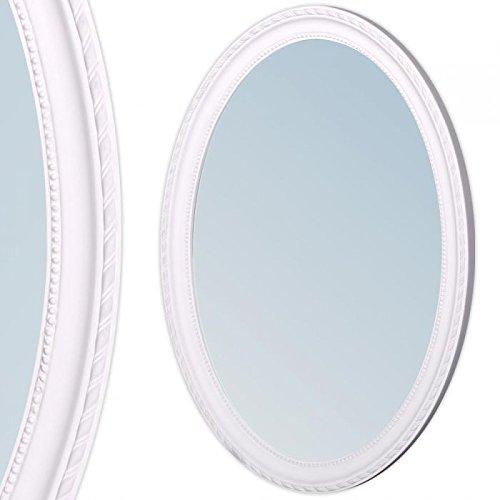 Wandspiegel oval Barockspiegel mit Holzrahmen Spiegel 70x50cm NERINA weiss