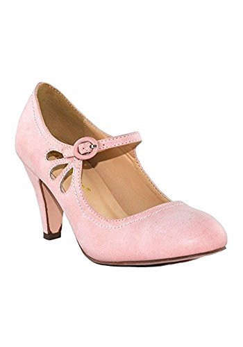 Chase and Chloe Kimmy-21 Mary Jane Teardrop Cutout T-Strap Pump Heel (10, Rose)