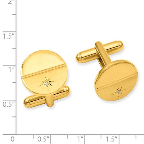 Gold-Plated Engravable Stainless Steel 0.01 Ct. Diamond Polished Florentined Cuff Links (Color H-I, Clarity SI1-SI2) ()